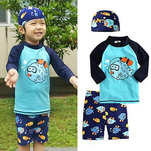 "3pcs Vaenait Baby Toddler Kids Boy Clothes Swimwear Suit Top Shorts Cap ""Diver"""