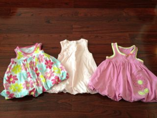 3 PC Baby Girls 12 Months Bubble Dress Pink Flowers Clothes Sets Outfits Lot EUC