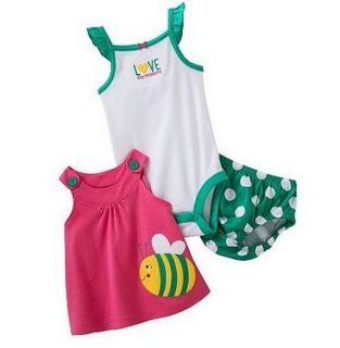 Carters Baby Girl Clothes Summer 3 Piece Set Green Bee 6 9 12 18 24 Months