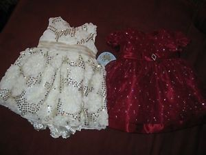 Lot of 4 Baby Girl's Dresses Pageant Christmas Dress Infant 3 to 9 Months