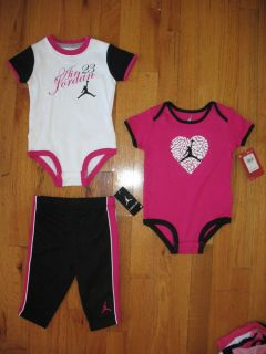 Nike Air Jordan Baby Girls 3pc Bodysuits and Pant Outfit Set Size 9 12M