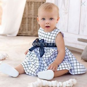 1pc Outfit Baby Girl Kid Infant Cotton Top Plaids Dress Clothes Skirt Sz 18 24M