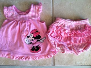 Minnie Mouse Infant Baby Girl 2 Piece Outfit 3 Months Ruffle Diaper Cover Pink