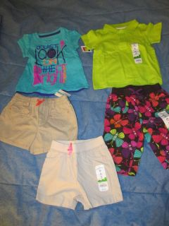 5 New Baby Girl 24 Months 2T Summer Clothes Shorts T Shirts Jumping Bean