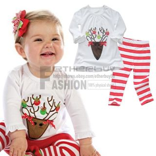 2pcs Christmas Outfit Baby Girls Top Shirt Striped Leggings Pants Set 6M 4T