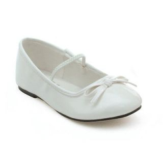 Girls White Patent Ballet Flat Shoes