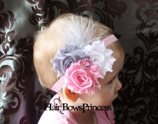 Baby White Gray Pink Headband Chiffon Flower Hair Bow Toddler Newborn Feathers