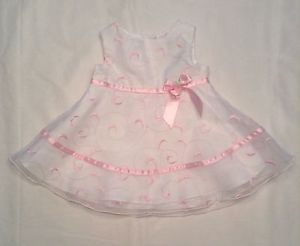 Baby Girls Pink White Scroll Embroidered Dress Size 3 6 Months Easter Bow Rose