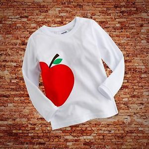"Baby Toddler Kids Boy Girl Clothes Long Top Tee Shirts""Red Apple"" 6 12 Month"
