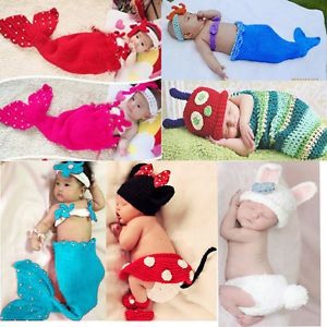 Newborn Baby Boy Girl Kids Crochet Beanie Outfit Set Hat 0 9M Photo Prop Clothes