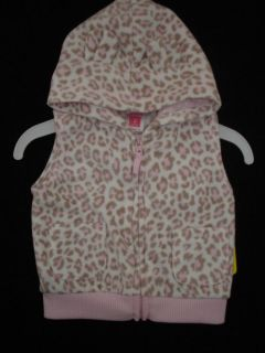 Carter's Infant Baby Girls Pink Leopard Animal Print Jacket Hoodie Vest 3 Mos