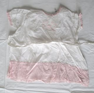 Vintage White and Pink Baby Girl's Dress Hand Made Altman Sons