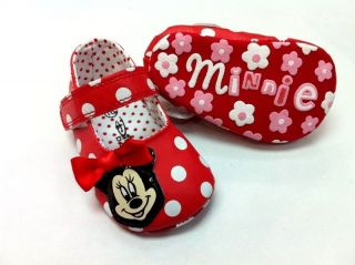 New Minnie Mouse Soft Sole Baby Girl Red Polka Mary Jane Crib Shoe Age 0 12 MTH