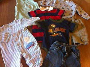 Mixed Lot of 7 Newborn Infant Baby Boy Clothes 12 Months Blue Jeans Pants Onesie