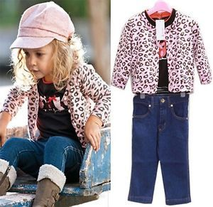 3pcs Girl Kids Outfit Set Coat Jacket T Shirt Jeans Clothes Pant Skirt Baby 1 6T