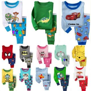 Long Sleeve Sleepwear Pajama Sets for Baby Toddler Kids Boys Girls Size 2T 7T