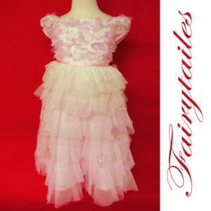 New Ivory Pink Baby Girl Princess Dress Size 12 Month