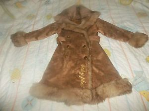 Girl's Baby Phat Brown Tan Fur Winter Coat Jacket Size s 8 10