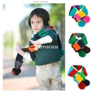 Winter Warm Baby Toddler Kid Boy Stripe Neck Wraps Scarf Muffler Shawl HD23L