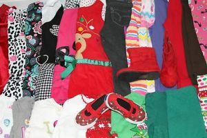 Toddler Girls Lot of 27 Fall Winter Clothes Outfits Sets Dresses Jeans Size 3T