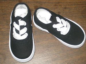 Black Sneakers Canvas Oxfords Boys Infant Toddler Sizes 1 to 10 New