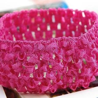 5X Elastic Baby Toddler Girls Knitted Crochet Headband for Bows Flowers Hot Pink