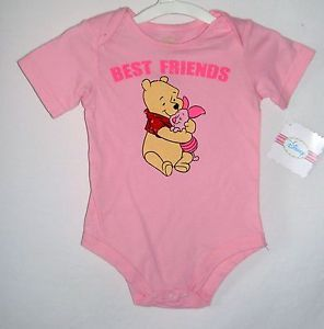 Disney Winnie The Pooh Piglet Infant Baby Girl Pink Best Friends Bodysuit Pig