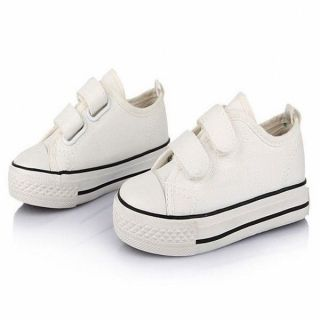 White Boy Girl School Children Kid Casual Canvas Sneakers Velcro Shoes Plimsolls