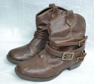 Kenneth Cole Brown Cowboy Western Buckle Line Dance Boots Toddler Girl Size 9 5