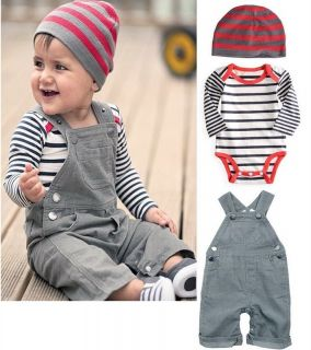 3pcs Baby Boys Party Striped Suit Outfits Hat Romper Overalls Pants 3 24M Formal