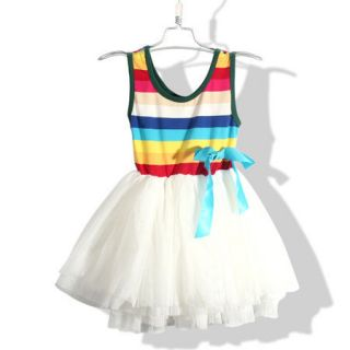 4 8 yrs Baby Kids Children Girls Rainbow Summer Dress Braces Skirt D103RB