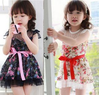 Baby Girl Kids Party Princess Tulle Tutu Dress Flowers 2 7Y Summer Cute Clothing