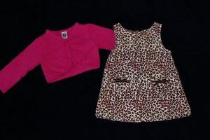 Carter's Kiks Baby Girl Valentines Day Leopard Dress Outfit Clothes 12 Months