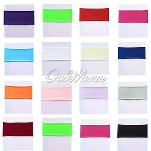 20 Lycra Stretch Chair Cover Bands Replace Chair Sash Bow Colors Banquet Wedding