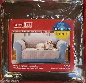 Sure Fit Brown Soft Suede Pet Dog Slip Cover Sofa Chair Loveseat Wing Recliner