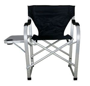 Heavy Duty Camping Outdoor Folding Director Chair w Table Black SL1214 Black