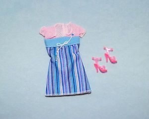 Fashionable Striped Purple Pink Blue Sleeveless Dress Barbie w Heels