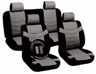 Two Tone PU Low Back Synth Leather Seat Covers Steering Wheel Set Black Gray CS4