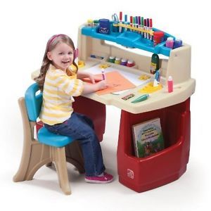 New Step2 Kids Room Deluxe Activity Fun Art Master Desk Table w Light Chair