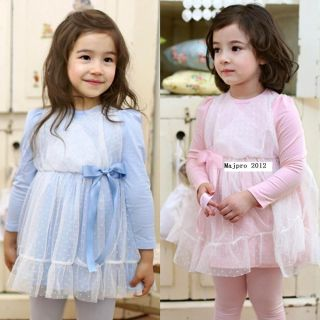 Girls Kids Baby 2 7Y Elegant Little Bit Net Yarn Skirt Princess Dress Set FT124