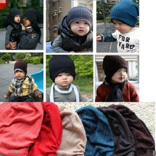 Lovely Cute Boy Girl Baby Toddler Child Parent Cotton Warm Knit Beanie Hat Cap