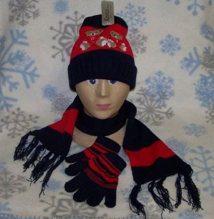 Child Teddy Bear Winter Set Scarf Hat Glove Beanie Cap Stocking 233 Navy