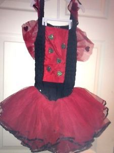 Girls Childrens Place Halloween Costume Lady Bug Leotard Tutu Sz Small 5 6