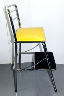 Sweet Vtg Retro Cosco Kitchen Chair Step Stool 50's Chrome Yellow RARE Folding