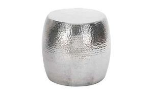 Stool Chair End Accent Table Round Silver Aluminum Metal Modern Contemporary New