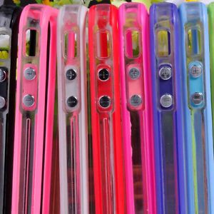 7 Color Clear Bumper Frame TPU Silicone Case for iPhone 4S CDMA 4G w Side Button