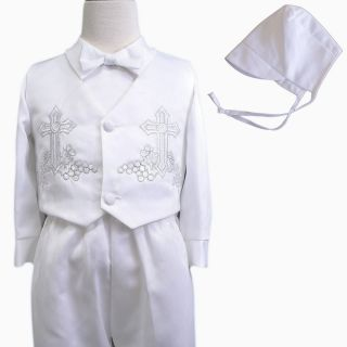 New Baby Boy Toddler Christening Baptism Vest Shorts Suit Gown Outfits Sz XS 4T