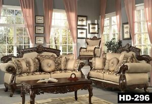 Formal Luxury Sofa Love Seat Chair Tables 6 Piece Living Room Set HD 296 New