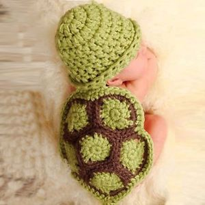 Trendy Hot Baby Girl Boy Newborn Turtle Knit Crochet Clothes Beanie Hat Outfit