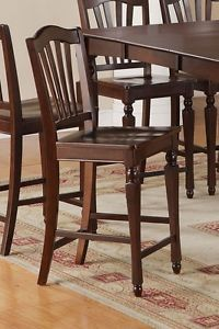 "Set of 4 Kitchen Counter Height Chairs with Wood Seat 24"" Bar Stool Mahogany"